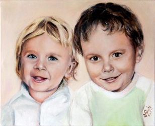 Kluci - akryl a olej na plátně - obraz podle fotek