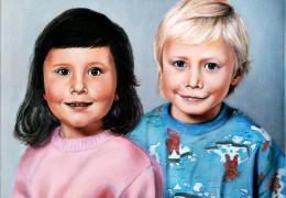 Dětská láska přetrvá - akryl a olej na plátně - vytvořeno podle fotek