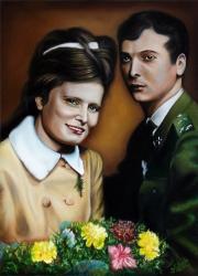 Manželský pár - Obraz podle fotky - akryl a olej na plátně