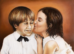 Před svatbou - akryl a olej na plátně - obraz na míru podle fotografií