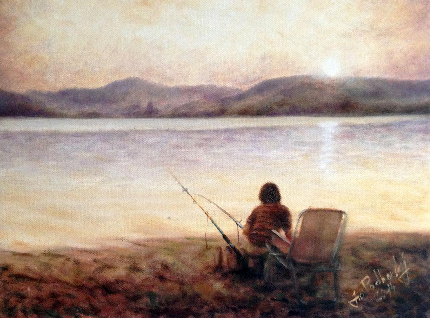 Rybář - 40x30cm - Olej na plátně