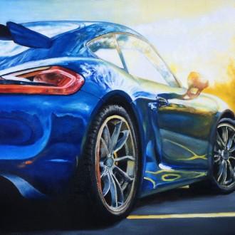 Porsche-cayman-gt4-60x40cm-oil
